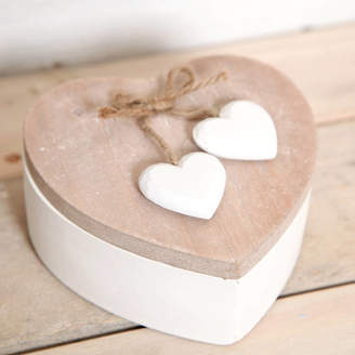 STUDY red berry apple Wooden Heart Shaped Trinket Box