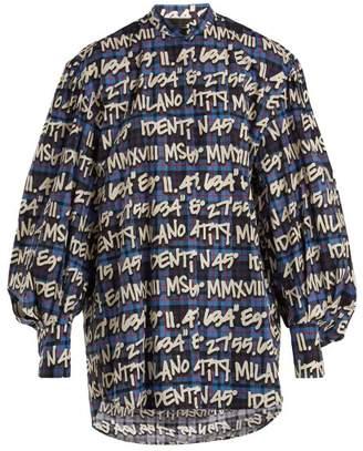MSGM Graffitied Tartan Print Cotton Shirt - Womens - Blue Multi
