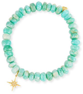 Sydney Evan 7mm Beaded Amazonite Bracelet with Diamond Starburst Charm