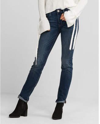 Express petite mid rise medium wash stretch skinny jeans