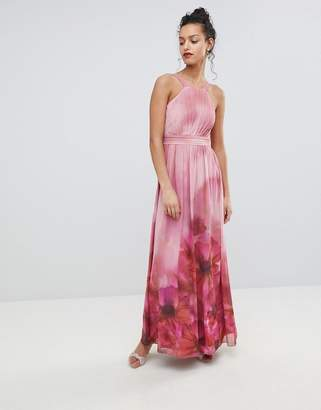 Little Mistress High Neck Full Bloom Floral Maxi Dress
