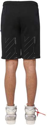 Off-White Off White Unfinished Print Cotton Sweat Shorts
