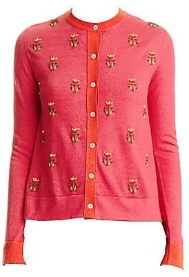 Carolina Herrera Women's Embellished Floral Cashmere & Silk Cardigan