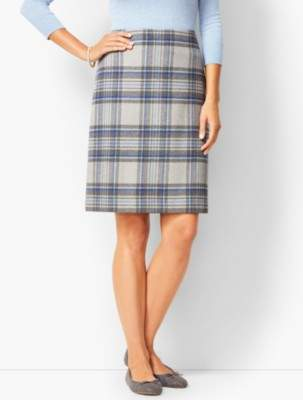 Talbots Twill A-Line Skirt - Brushed Plaid