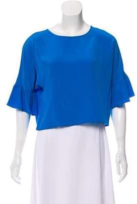 Amanda Uprichard Short Sleeve Cropped Blouse