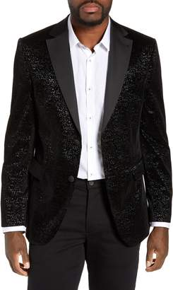 Jared Lang Trim Fit Velvet Burnout Blazer