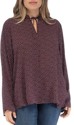Bobeau B Collection by Curvy Samara Dotted Tie Neck Top