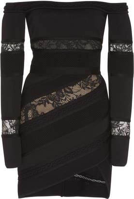 Elie Saab Off the Shoulder Lace Paneled Dress