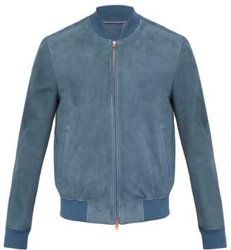 Suede Bomber Jacket - Mens - Blue