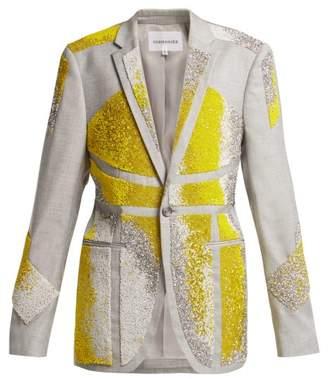 Germanier - Bead Embellished Twill Blazer - Womens - Yellow