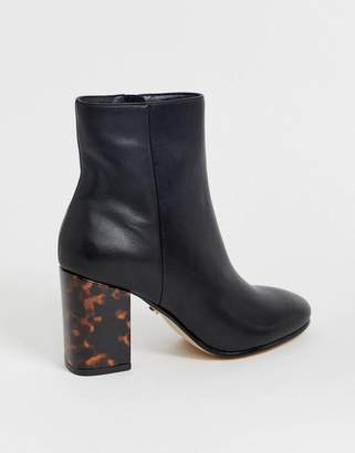 Office Aima black leather mid heeled ankle boots with tortoise print contrast heel
