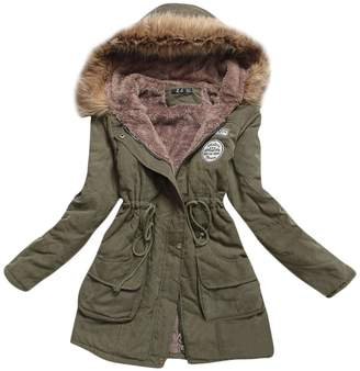 A+ro Aro Lora Women's Winter Warm Faux Fur Hooded Cotton-Padded Coat Parka Long Jacket