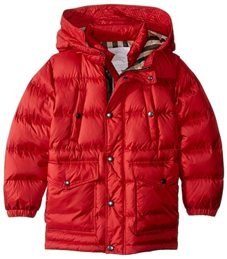 Burberry Kids - Barnie Puffy Checked Hood Jacket Kid's Coat $395 thestylecure.com
