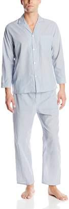 Geoffrey Beene Men's Big-Tall Blue Striped Broadcloth Pajama Set