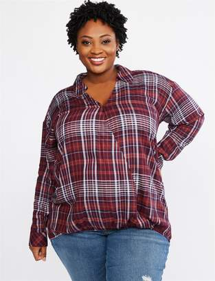 Motherhood Maternity Plus Size Jessica Simpson Plaid Pull Over Nursing Top