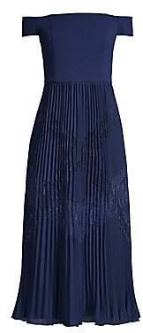 Aidan Mattox Women's Off-The-Shoulder Pleated Midi Dress