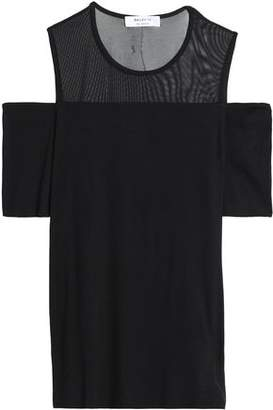Bailey 44 Cold-Shoulder Mesh-Paneled Stretch-Jersey Top