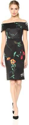 Calvin Klein Women's Folded Off-The-Shoulder Sheath Dress, Black/Multi