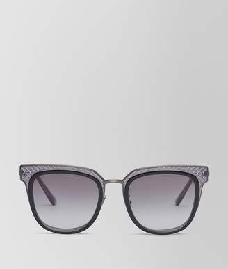 Bottega Veneta Sunglasses In Shiny Black Acetate And Grey Metal, Gradient Grey Lens
