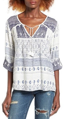 Women's Roxy Lucky Blue Print Peasant Top $44.50 thestylecure.com