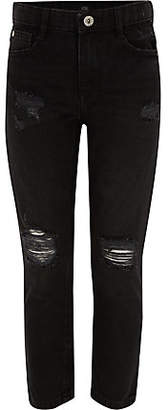 River Island Girls black Molly ripped straight leg jeans