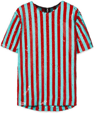 Halpern - Striped Sequined Tulle T-shirt - Red