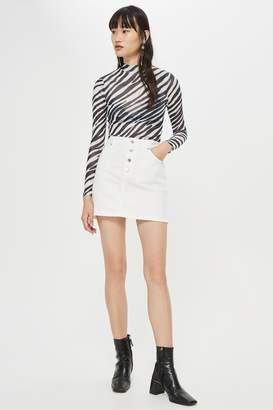 Topshop Womens Button Fly Denim Skirt - White