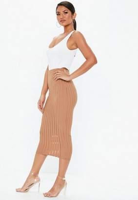 Missguided Camel Mesh Stripe Midi Skirt