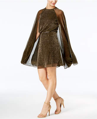 Calvin Klein Belted Metallic Cape Dress