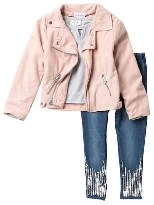 Nicole Miller Top, Faux Suede Moto Jacket & Sequin Detail Jeggings Set (Little Girls)