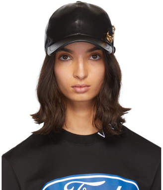 Versace Black Leather Safety Pin Baseball Cap
