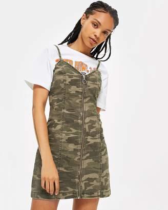 Topshop Camo Zip Up Denim Dress