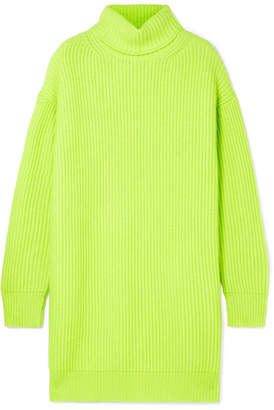 Christopher Kane Oversized Ribbed Cashmere Turtleneck Sweater - Chartreuse