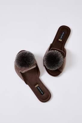Pretty You London Mink Velvet Pom Sandals
