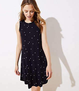 LOFT Petite Polka Dot Swing Dress