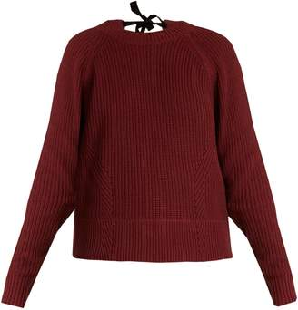 Muveil Tie-back cable-knit cotton-blend sweater