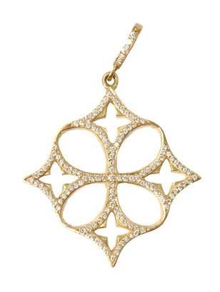 Loree Rodkin yellow gold open quatrefoil clover cross Pavé diamond pendant