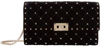 Valentino Velvet Rockstud Spike Clutch Bag