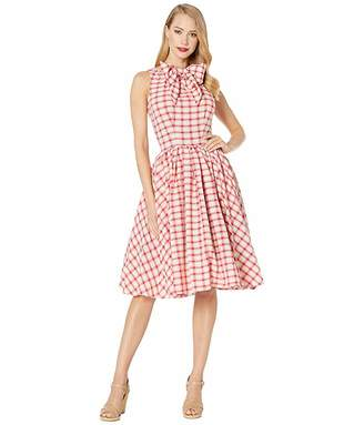 Unique Vintage 1950s Style Raspberry Plaid Doheny Swing Dress