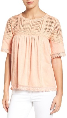 Women's Caslon Fringed Lace & Knit Tee $45 thestylecure.com