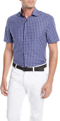 Ermenegildo Zegna Men's Mid-Check Short-Sleeve Sport Shirt
