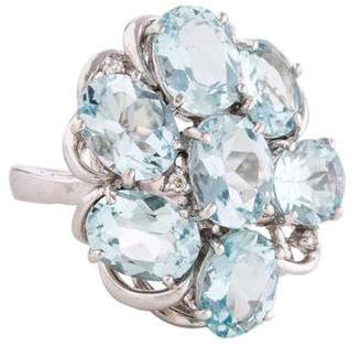 Ring 18K Aquamarine Cluster