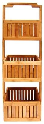 Pinpoint Mounts 3 Basket Bamboo Lohas Stationary Bathroom Caddy