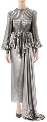 Gucci Metallic Silk Gown with Pleated Bodice & Asymmetric Train