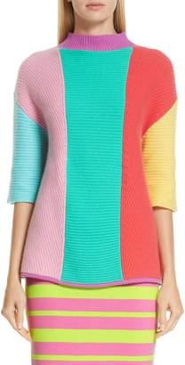 Victor Glemaud Stripe Short Sleeve Cashmere Sweater