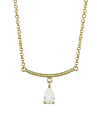 Tate Diamond Teardrop Arc Necklace - Yellow Gold