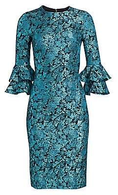 Theia Women's Floral Jacquard Bell-Sleeve Sheath Dress