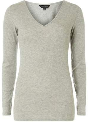 Dorothy Perkins Womens Grey V-Neck Top