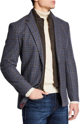 English Laundry Men's Zip-Out Bib Butler Plaid Blazer
