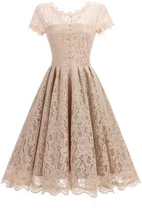 QIanzibaimei Women's Retro Floral Lace Cap Sleeve Vintage Swing Bridesmaid Dress (M, )
